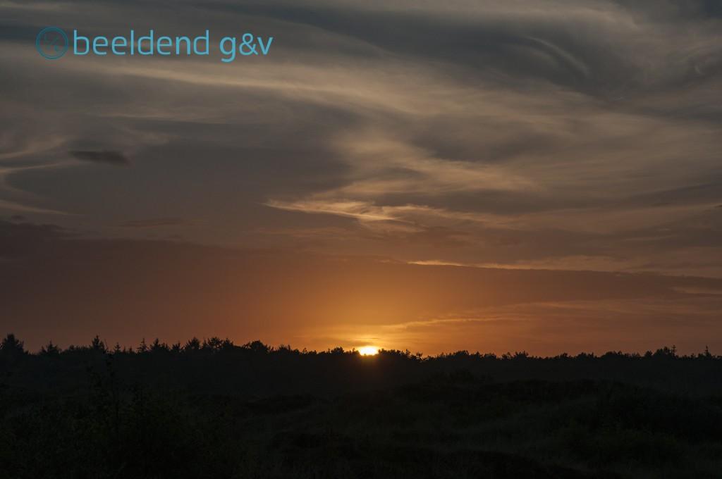 De zon zakt achter het bos van Formerum