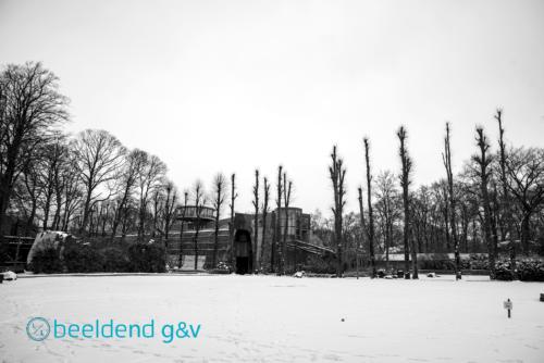 Dierenpark in de sneeuw